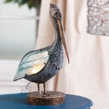 Glass and Metal Pelican Lamp